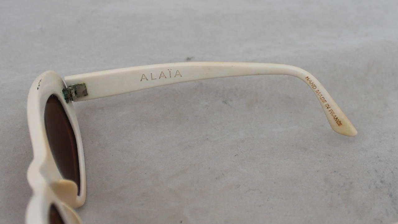 Azzedine Alaia 1990's Vintage White Frame Sunglasses 4