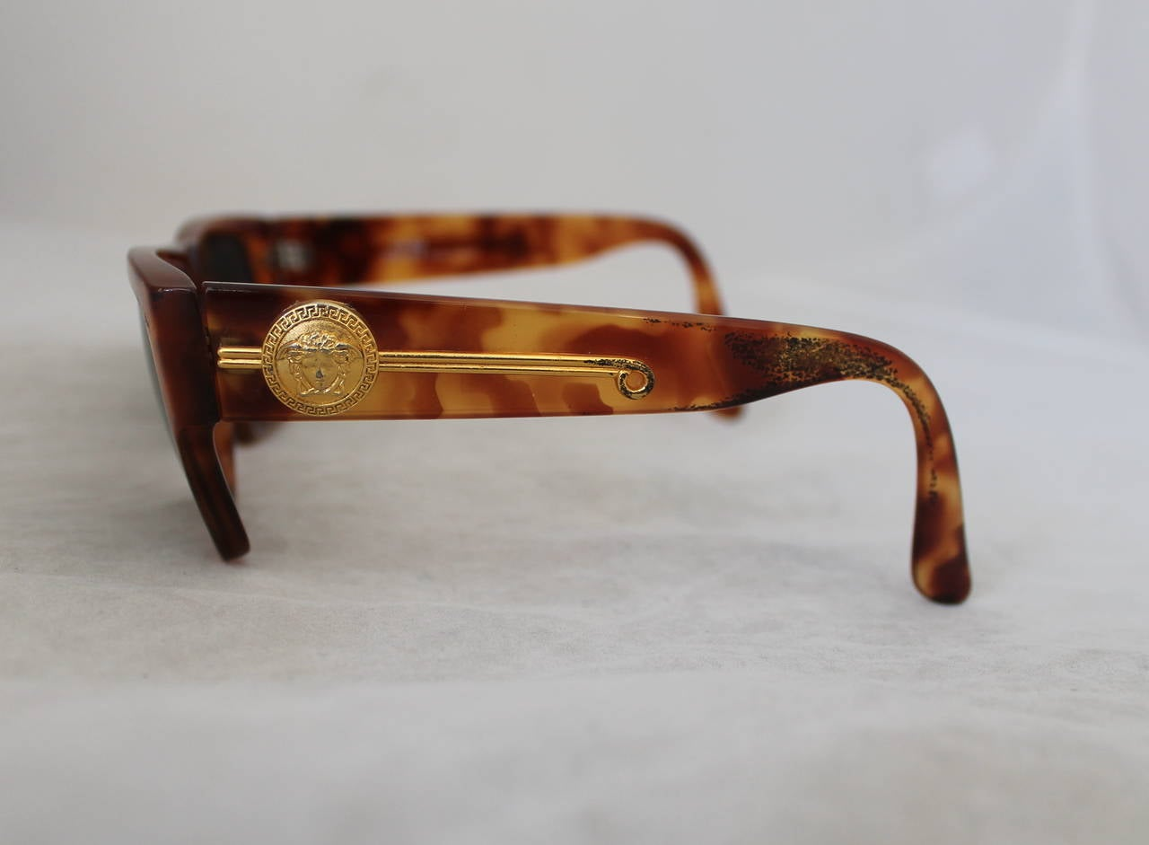 Versace 1990's Vintage Tortoise & Gold Emblem Sunglasses 3