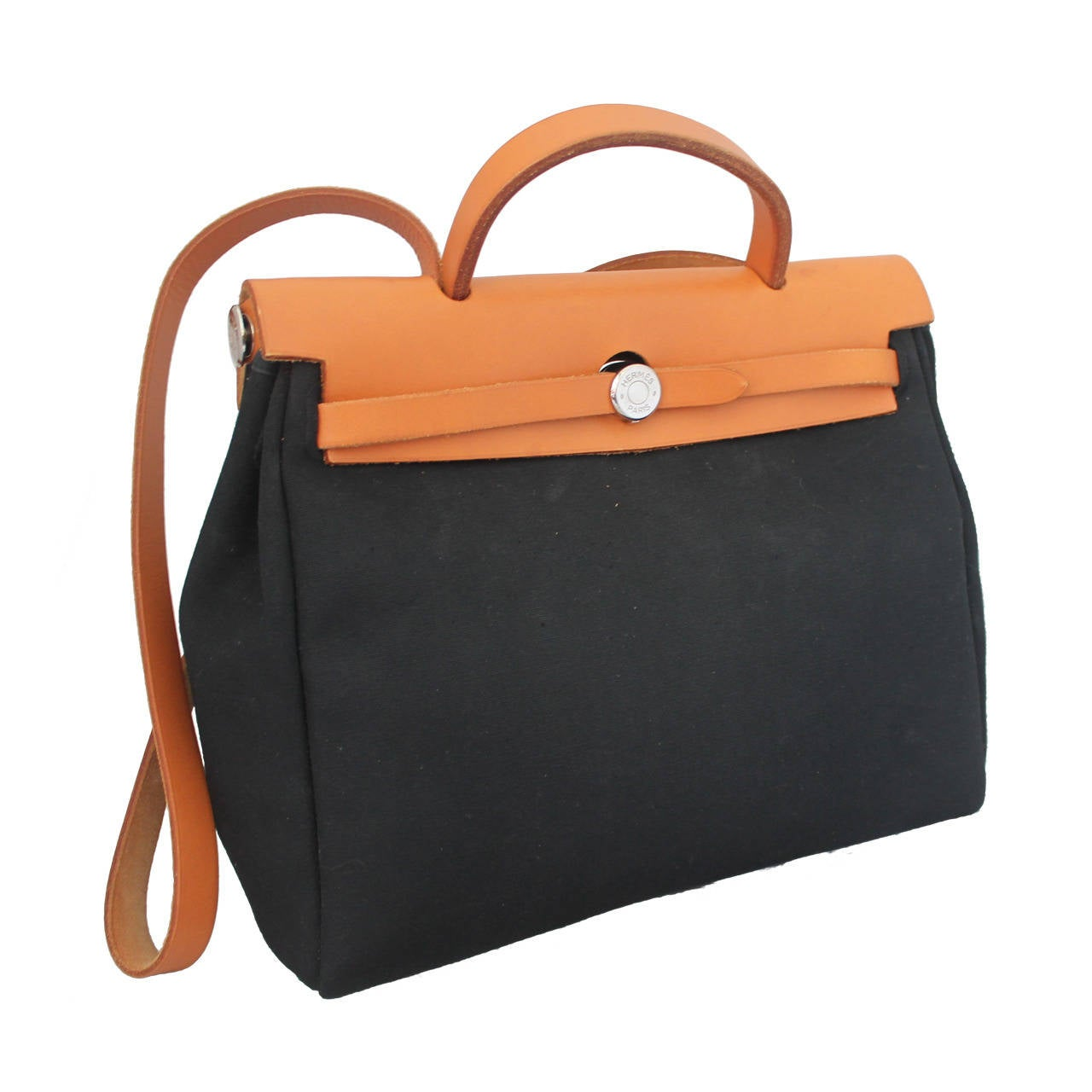 Hermes 2000 Black and Ivory 31 cm Her Bag w/ Tan Leather at 1stdibs