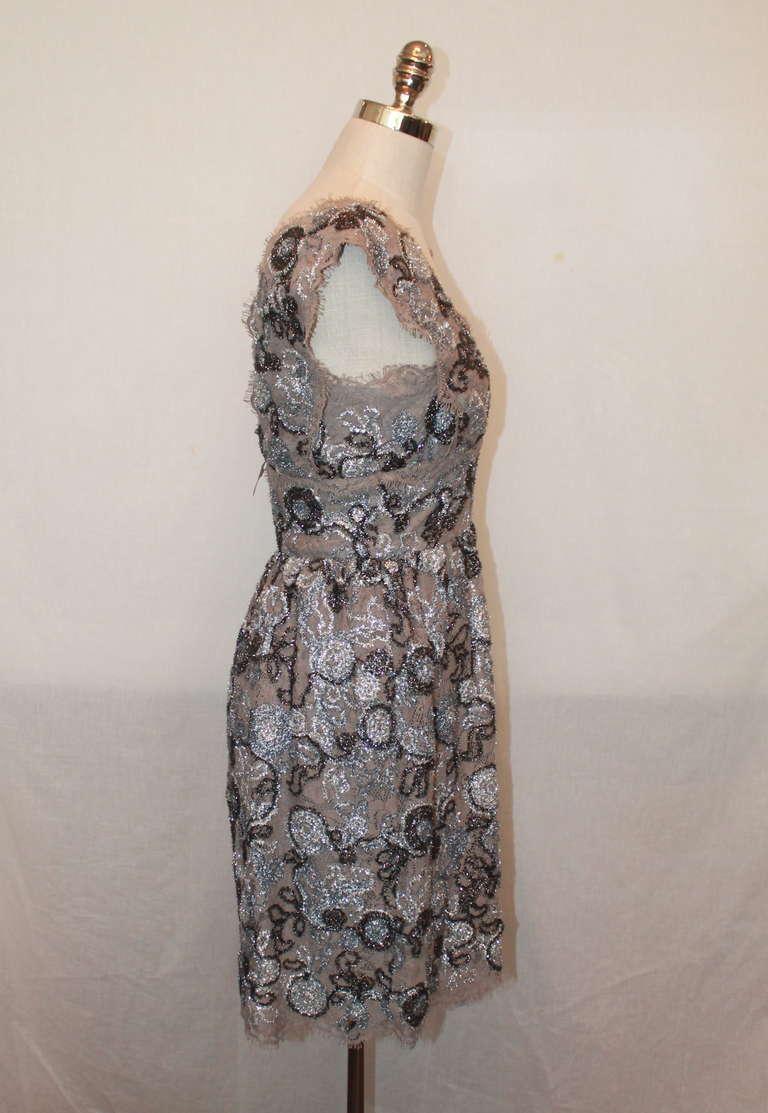 Burberry Prorsum Silver Metallic Lace Dress- 42 2