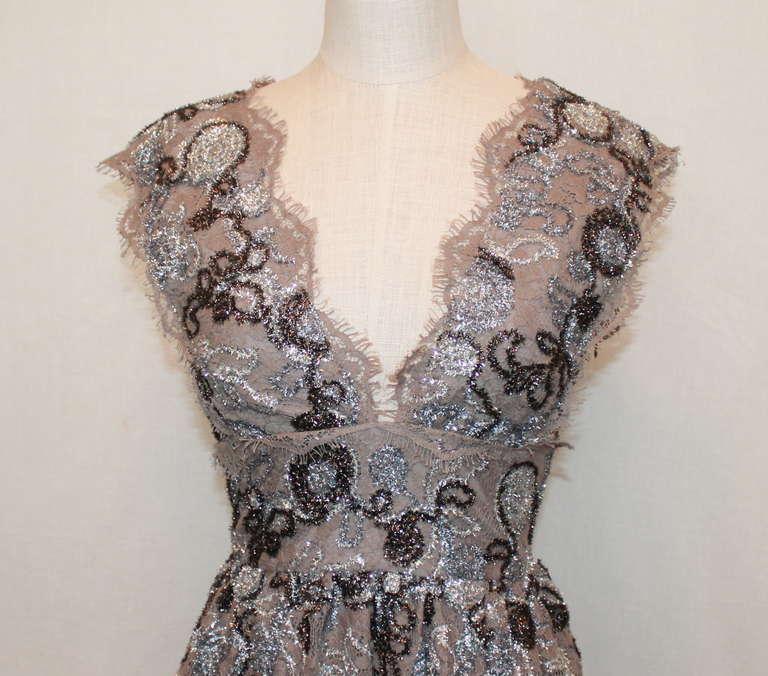 Burberry Prorsum Silver Metallic Lace Dress- 42 3