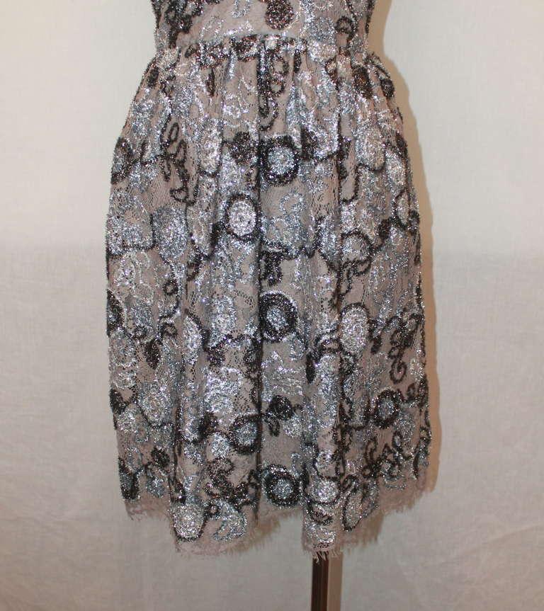 Burberry Prorsum Silver Metallic Lace Dress- 42 4