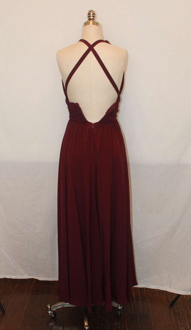 Black Carolyn Roehm Eggplant Halter Gown - 4 For Sale