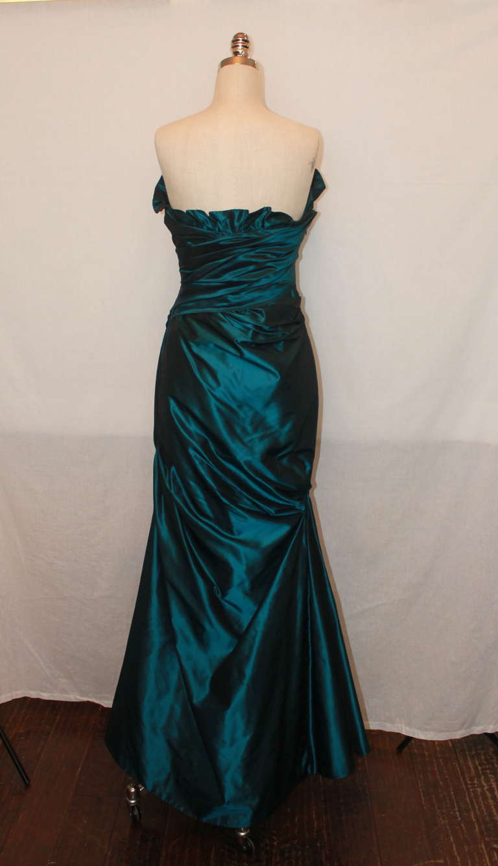 Black Reem Acra Teal Silk Taffeta Gown - 6 For Sale