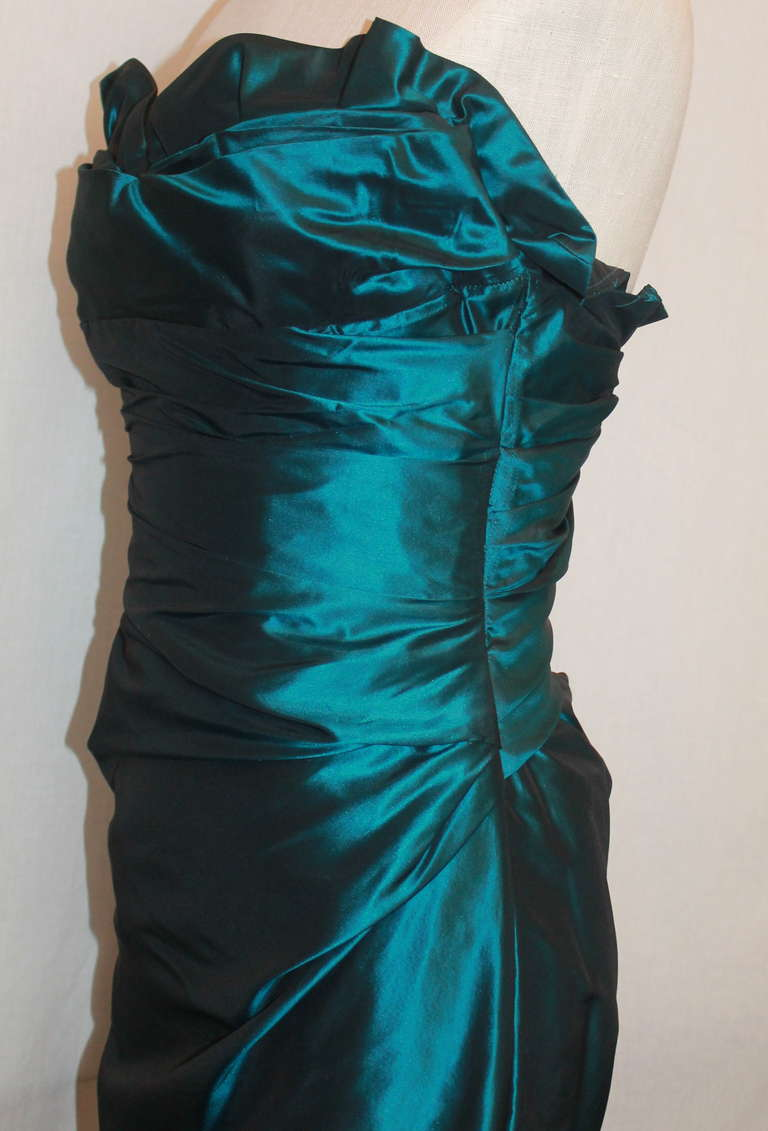 Women's Reem Acra Teal Silk Taffeta Gown - 6 For Sale