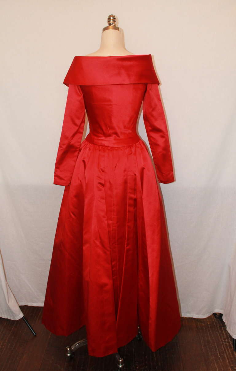 John Anthony Red Satin Gown - 4 In Excellent Condition For Sale In Palm Beach, FL