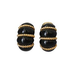 Kenneth Jay Lane 1990's Black & Gold-tone Rope Detail Clip-ons