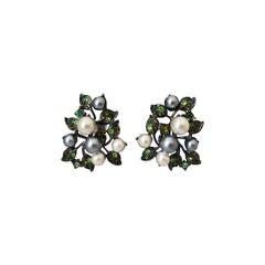 Kenneth Jay Lane 1990's Pearl & Green Rhinestone Clip-on Earrings