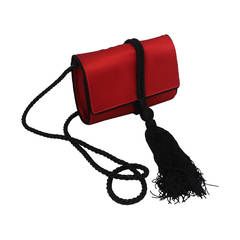 Vintage Salvatore Ferragamo Red and Black Satin Bag with Rope Strap