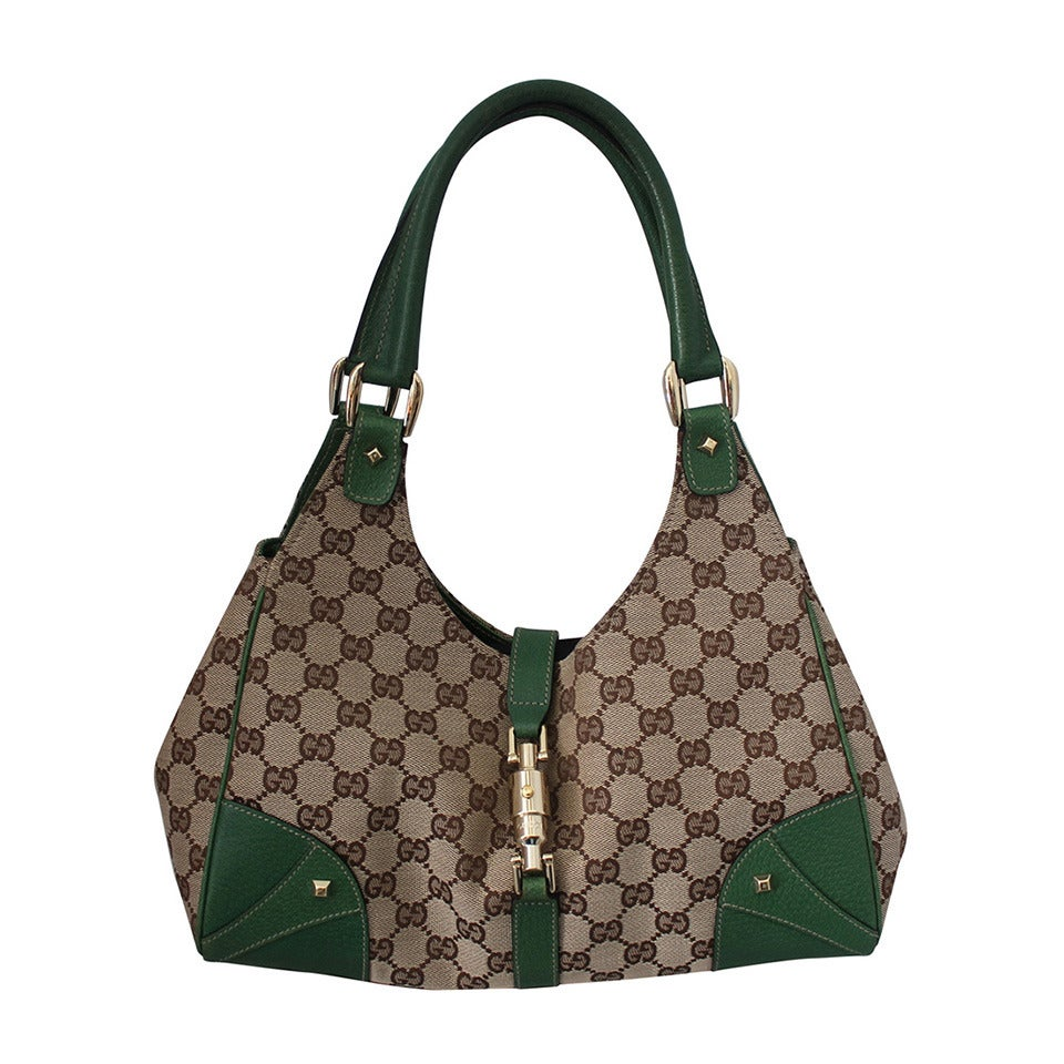 Gucci Brown Fabric and Green Leather Printed Monogram Shoudler Bag