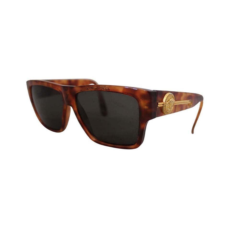 Versace 1990's Vintage Tortoise & Gold Emblem Sunglasses 1