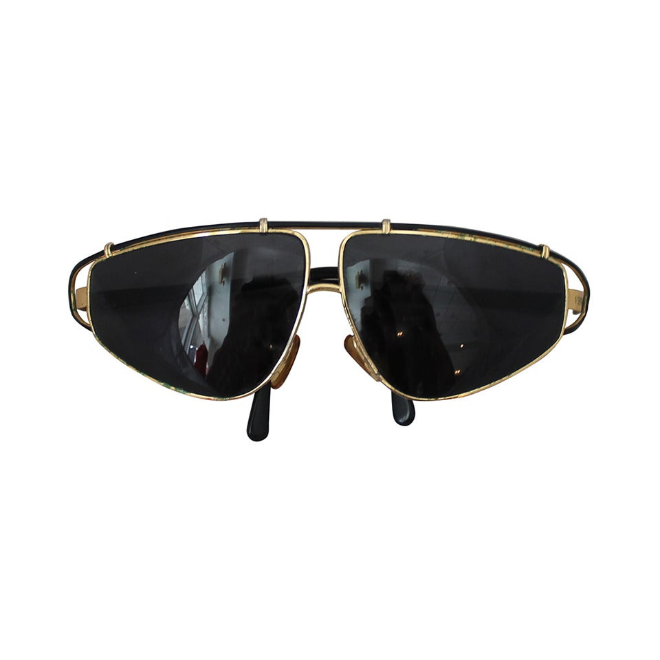 Versace 1980's Vintage Black & Gold Geometric Aviator Sunglasses 1