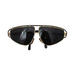 Versace 1980's Vintage Black & Gold Geometric Aviator Sunglasses