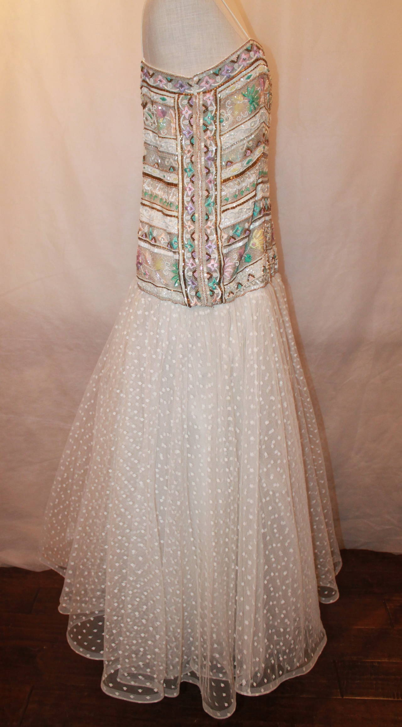 Women's Richilene 1980's Vintage White Embroidered & Beaded Gown - 12 For Sale