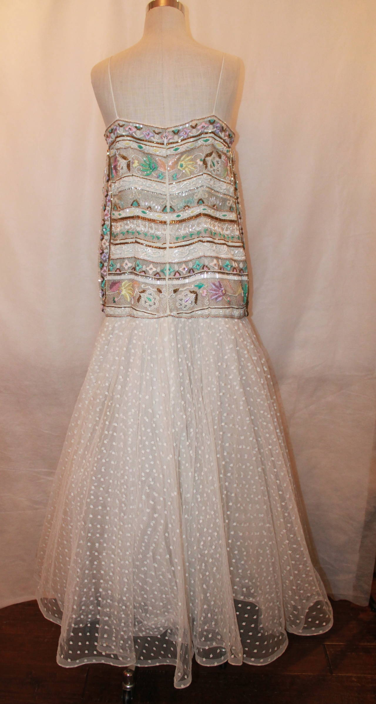 Richilene 1980's Vintage White Embroidered & Beaded Gown - 12 For Sale 1