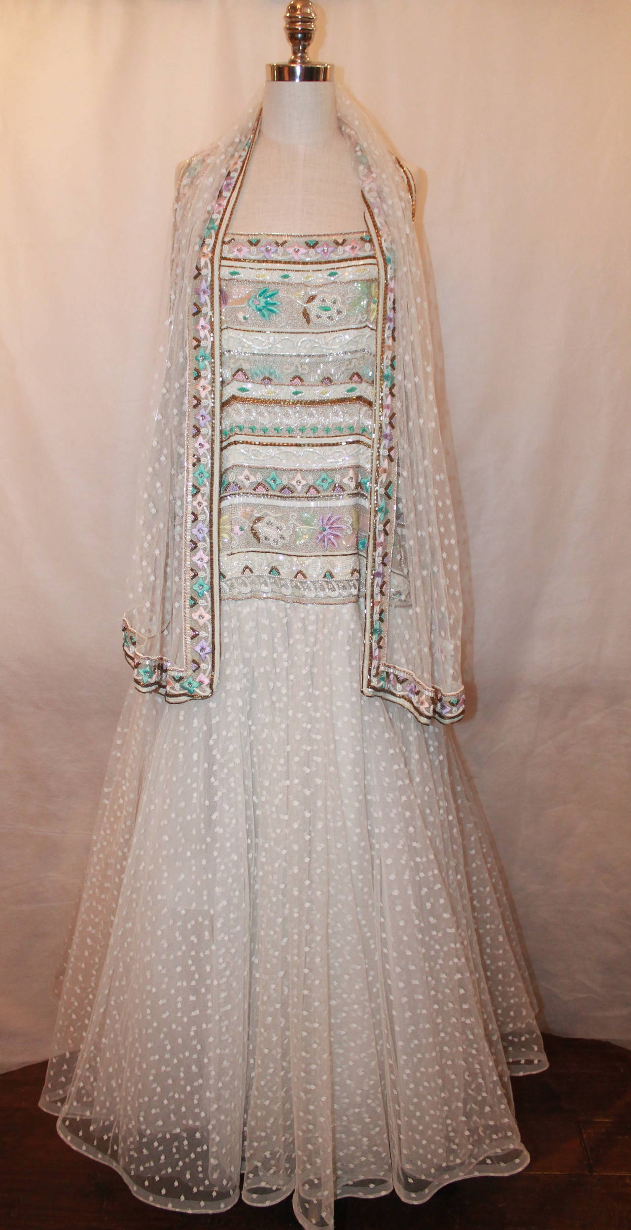 Brown Richilene 1980's Vintage White Embroidered & Beaded Gown - 12 For Sale