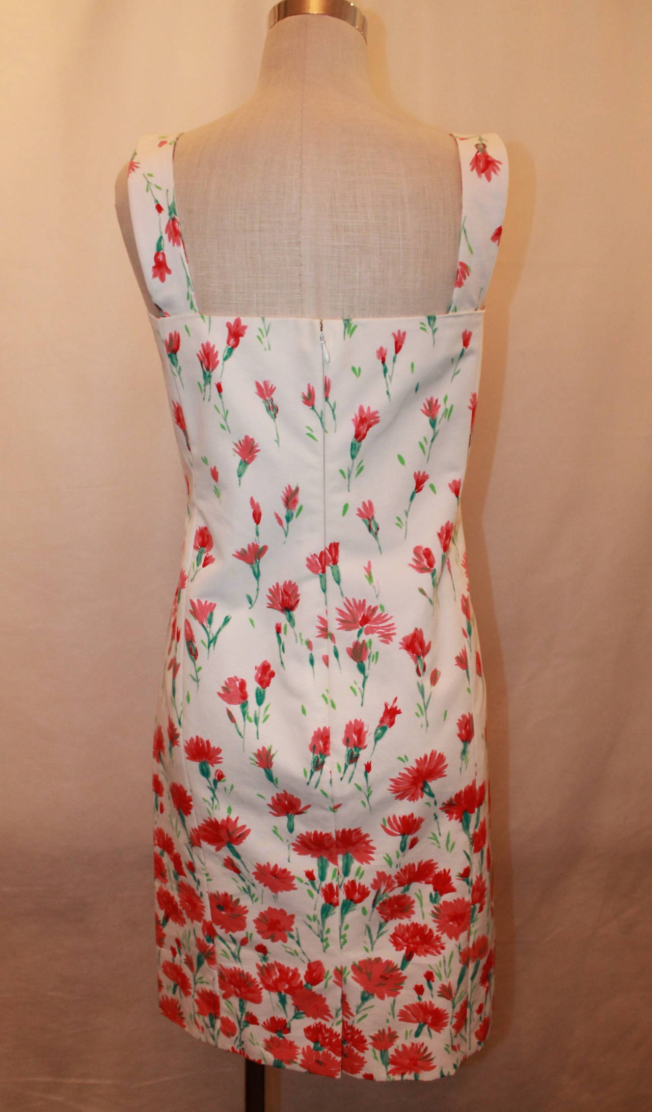 Oscar De La A White And Red Fl Print Cotton Dress In Excellent Condition For