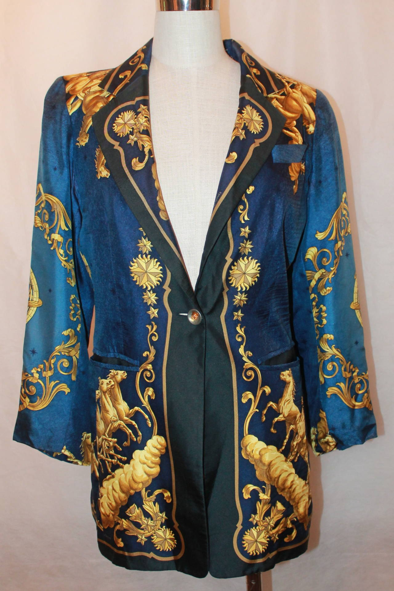 "Hermes 1970's Vintage Navy and Gold ""Cosmos"" Print Jacket ..."