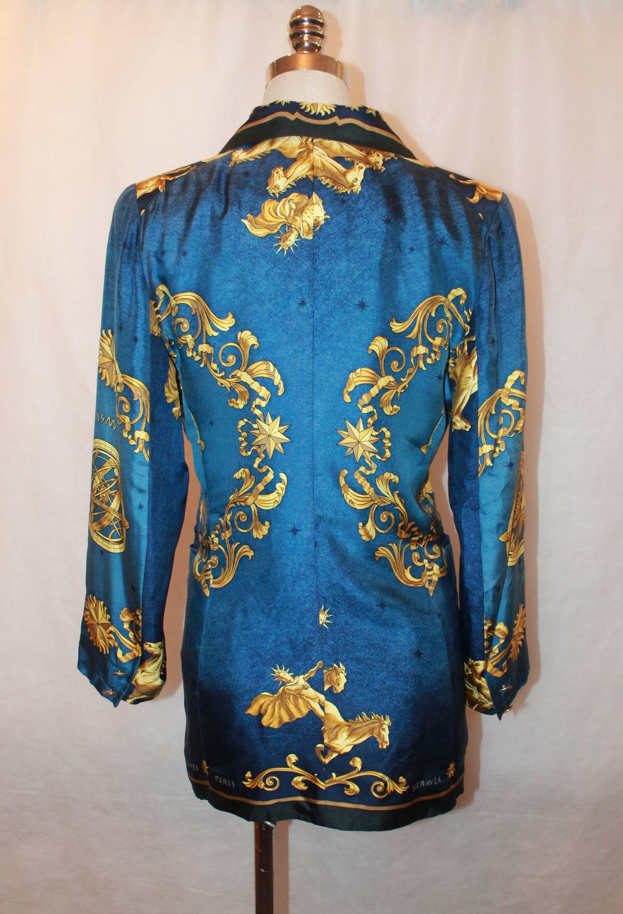 """Hermes 1970's Vintage Navy and Gold """"Cosmos"""" Print Jacket ..."""