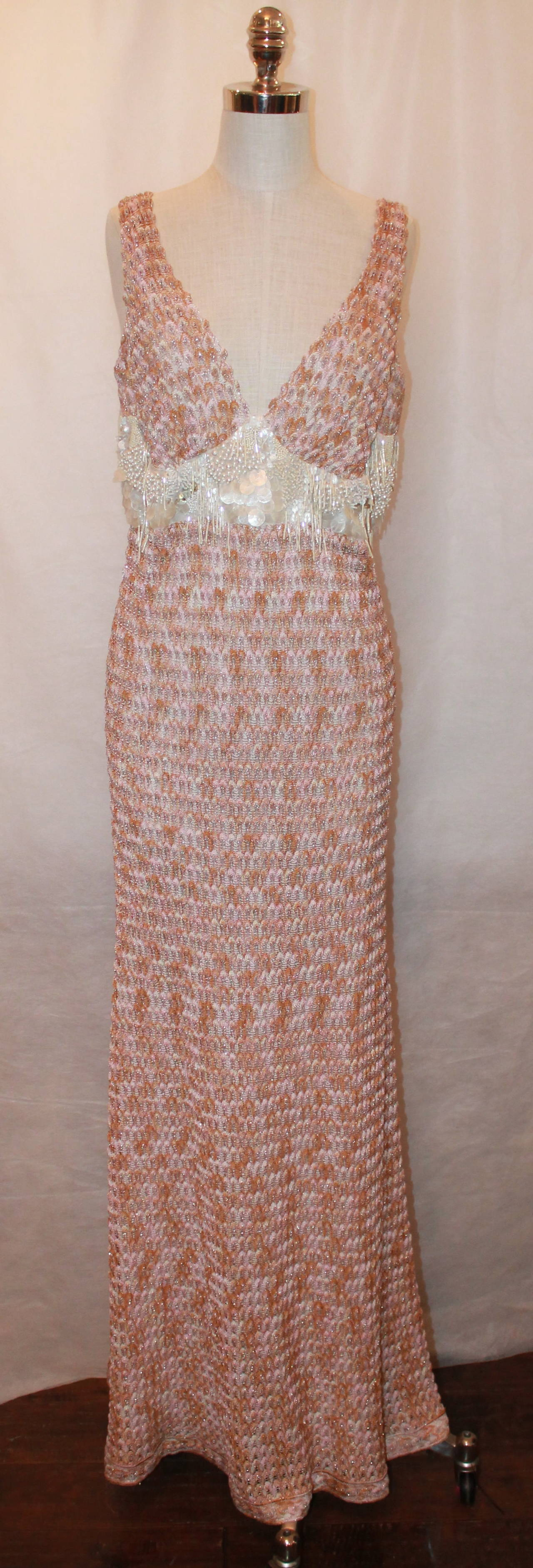 Missoni Knitted Pastel Pink Gown with Mother of Pearl Accent - 8 For ...
