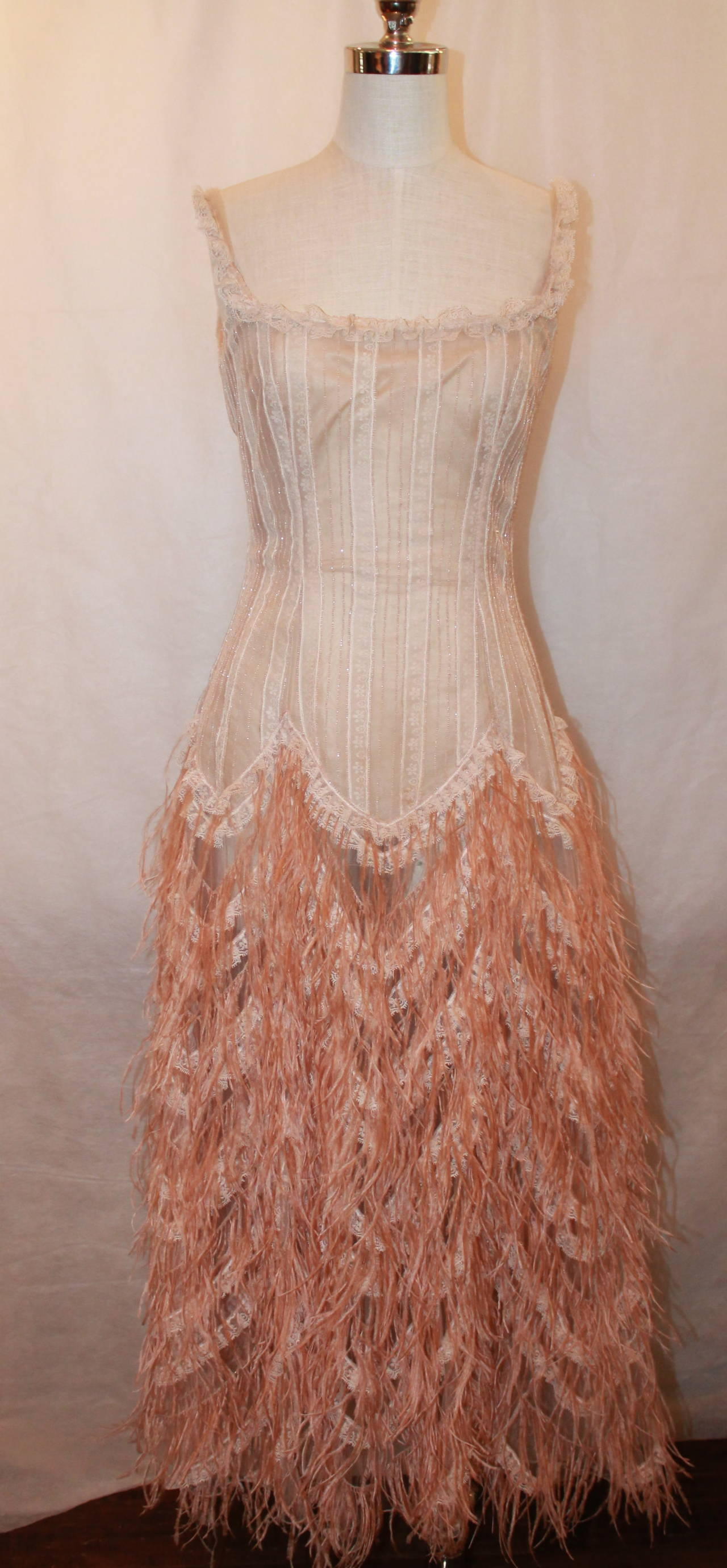 Brown Oscar de la Renta Blush Lace Beaded Gown with Ostrich Feathers & Shawl - M For Sale
