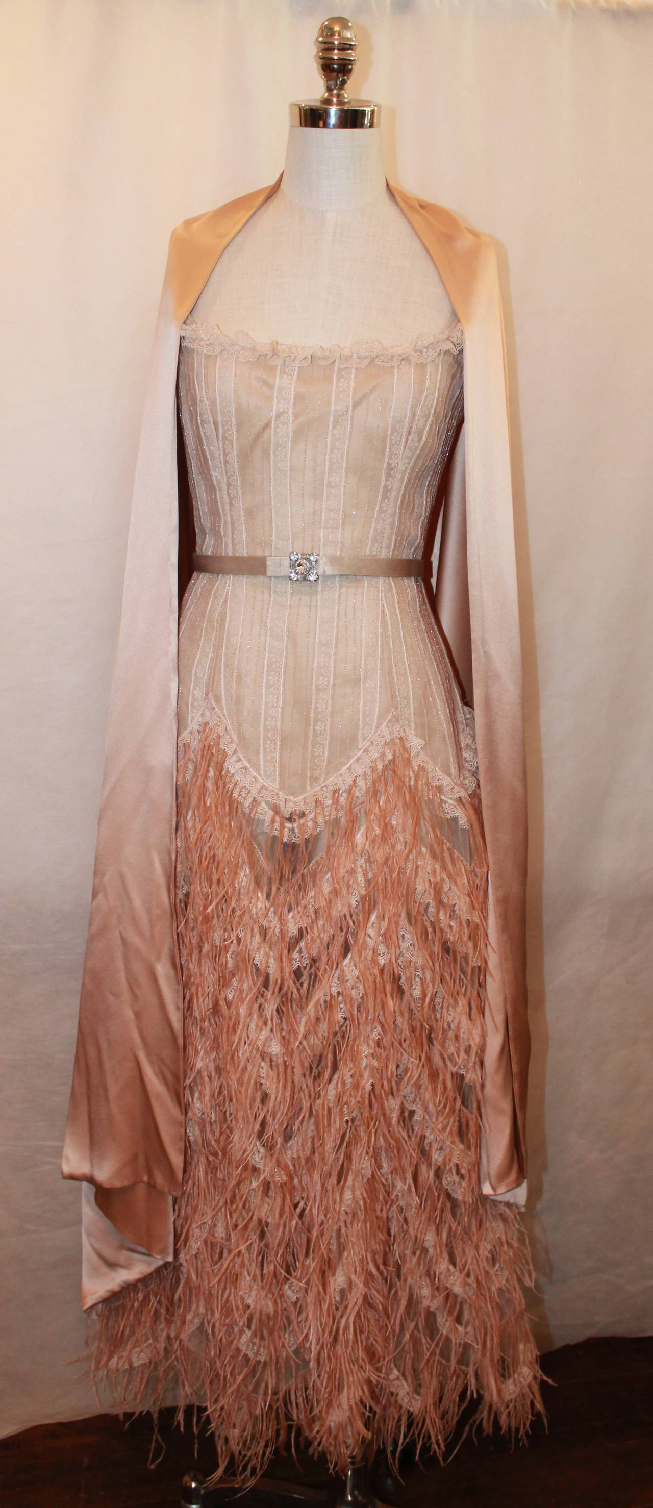 Oscar de la Renta Blush Lace Beaded Gown with Ostrich Feathers & Shawl - M For Sale 1