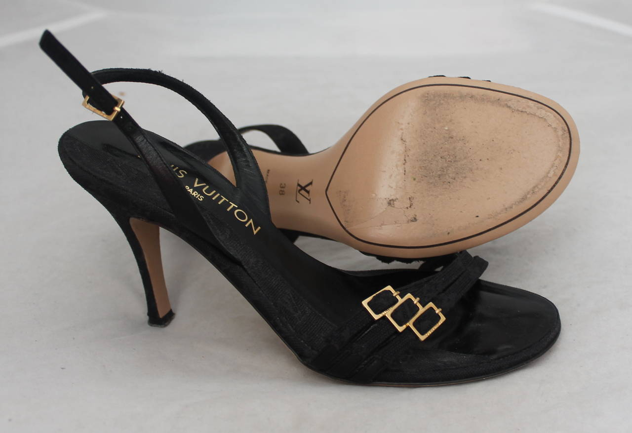 Women's Louis Vuitton Black Printed Monogram Slingback Sandals - 38 For Sale