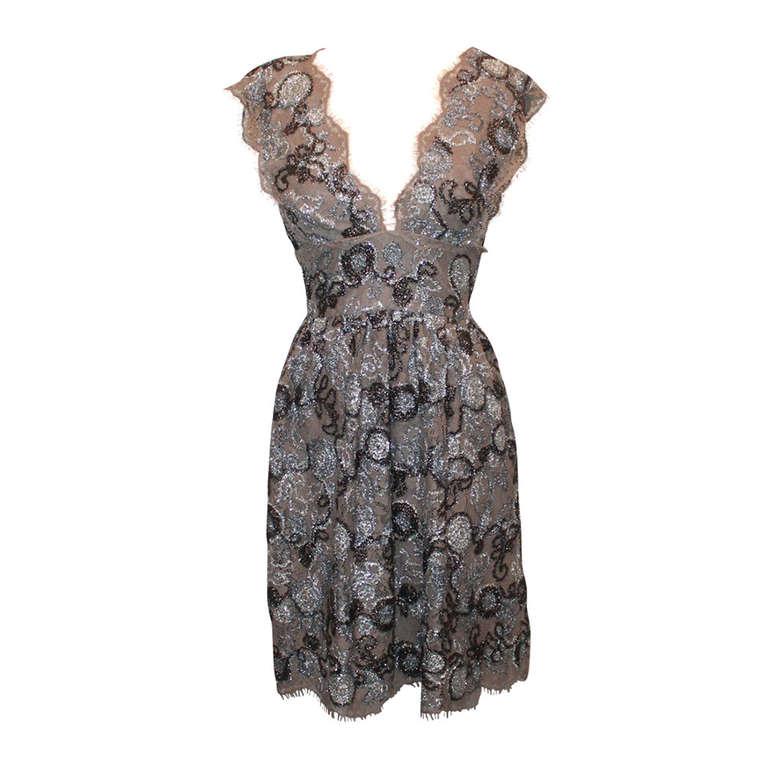 Burberry Prorsum Silver Metallic Lace Dress- 42 1