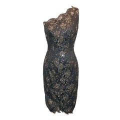 Mandalay Grey & Gold Lace Dress - 6