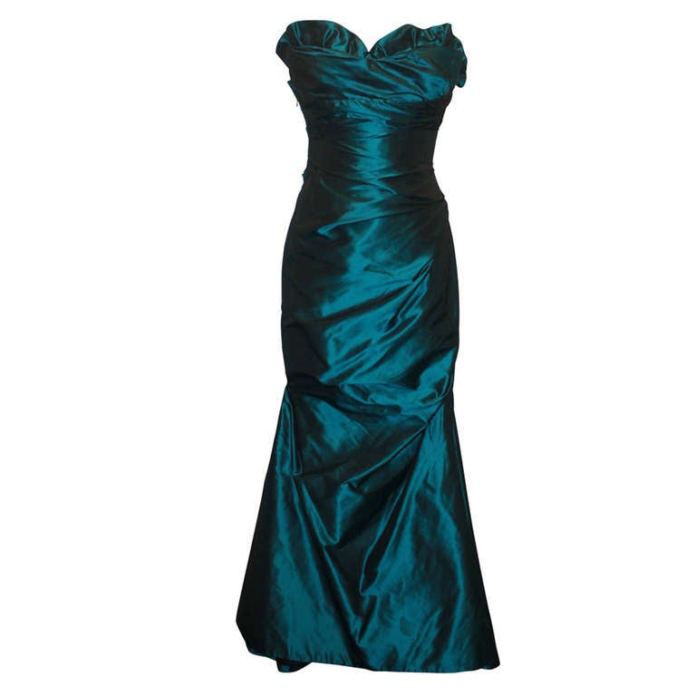 Reem Acra Teal Silk Taffeta Gown - 6 For Sale