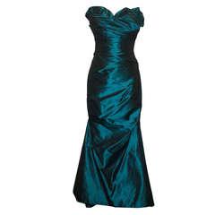 Reem Acra Teal Silk Taffeta Gown - 6