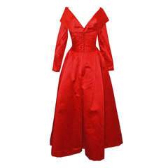 John Anthony Red Satin Gown - 4