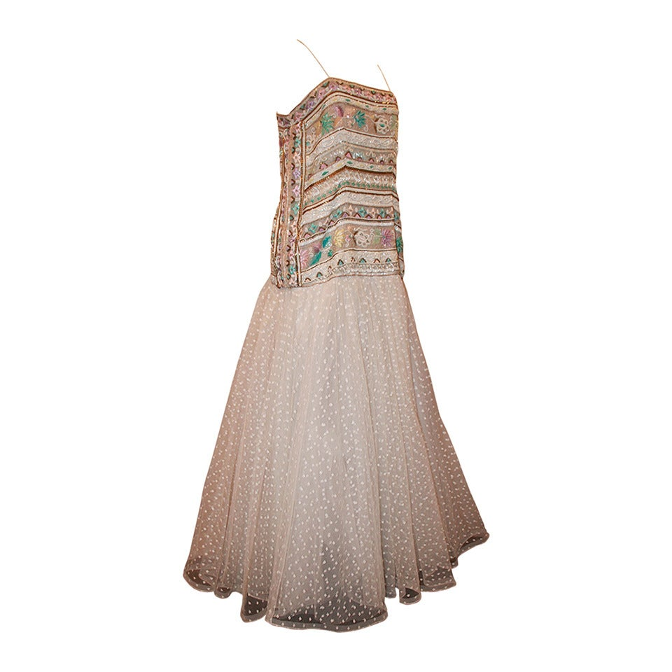 Richilene 1980's Vintage White Embroidered & Beaded Gown - 12 For Sale