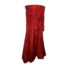 Scaasi 1990's Vintage Red & Black Long Sleeve Gown - 8