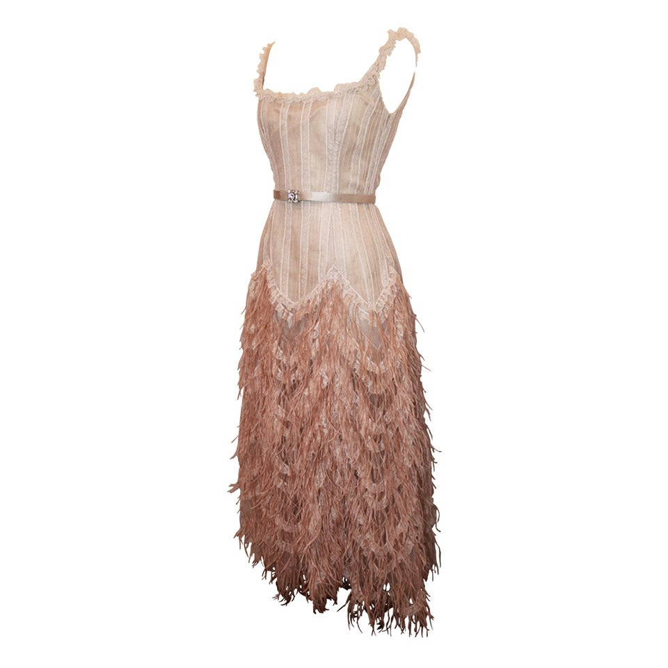 Oscar de la Renta Blush Lace Beaded Gown with Ostrich Feathers & Shawl - M For Sale