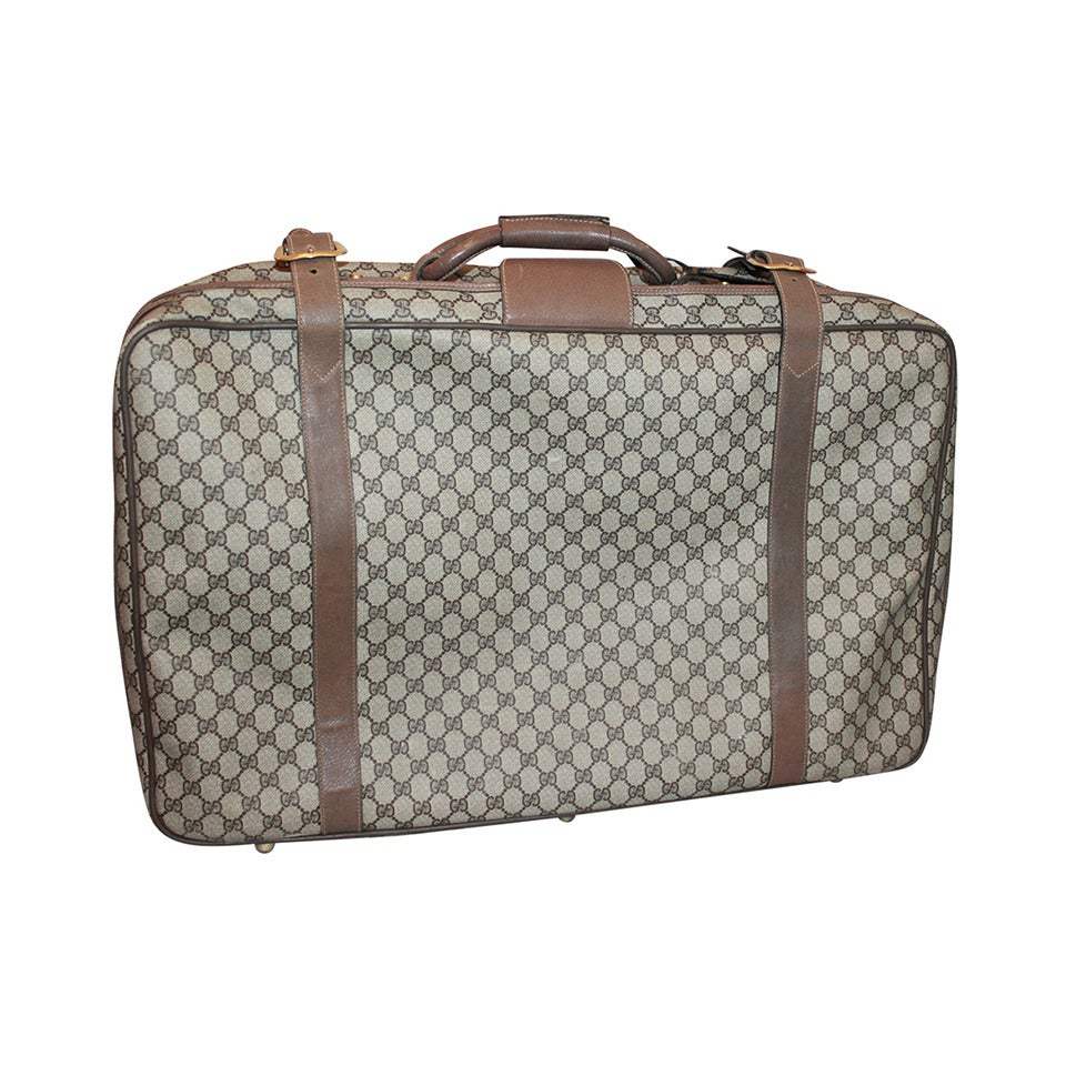 Gucci 1980 S Vintage Printed Monogram Luggage Piece For Sale At 1stdibs