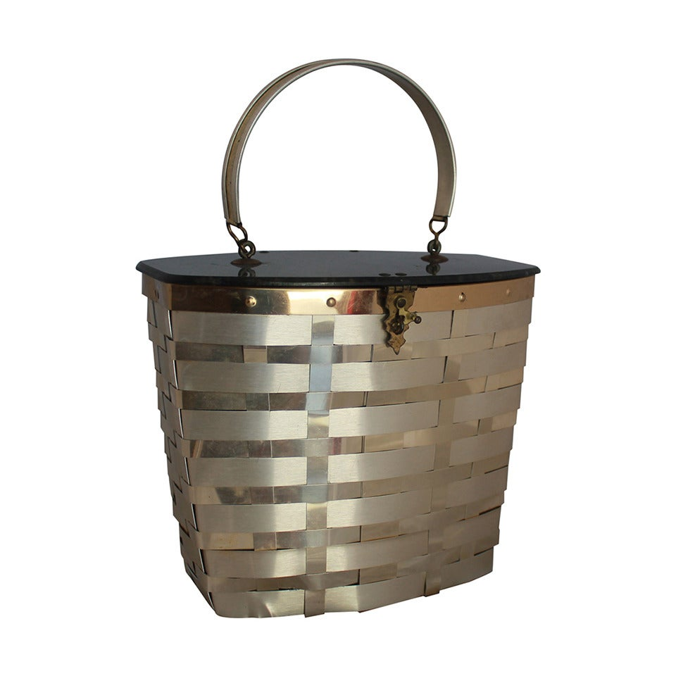 Goldstrom 1950s Vintage Goldtone Basket Weave with Grey Marbleized Top Bag