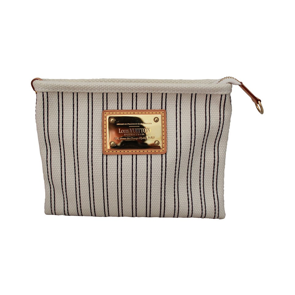Louis Vuitton 2007 White & Navy Striped Canvas Case with Gold Emblem Plate