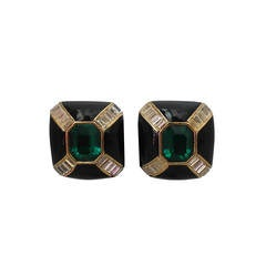 1990s Ciner Black Enamel and Goldtone Earrings with Green Center