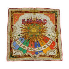 "Hermes Multi-Color ""Carpe Diem"" Printed Silk Small Scarf"