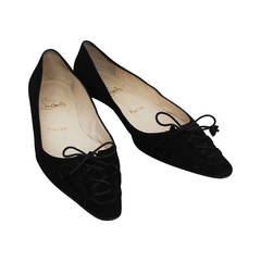 Christian Louboutin Black Suede Flats with Tie Up Front - 37.5