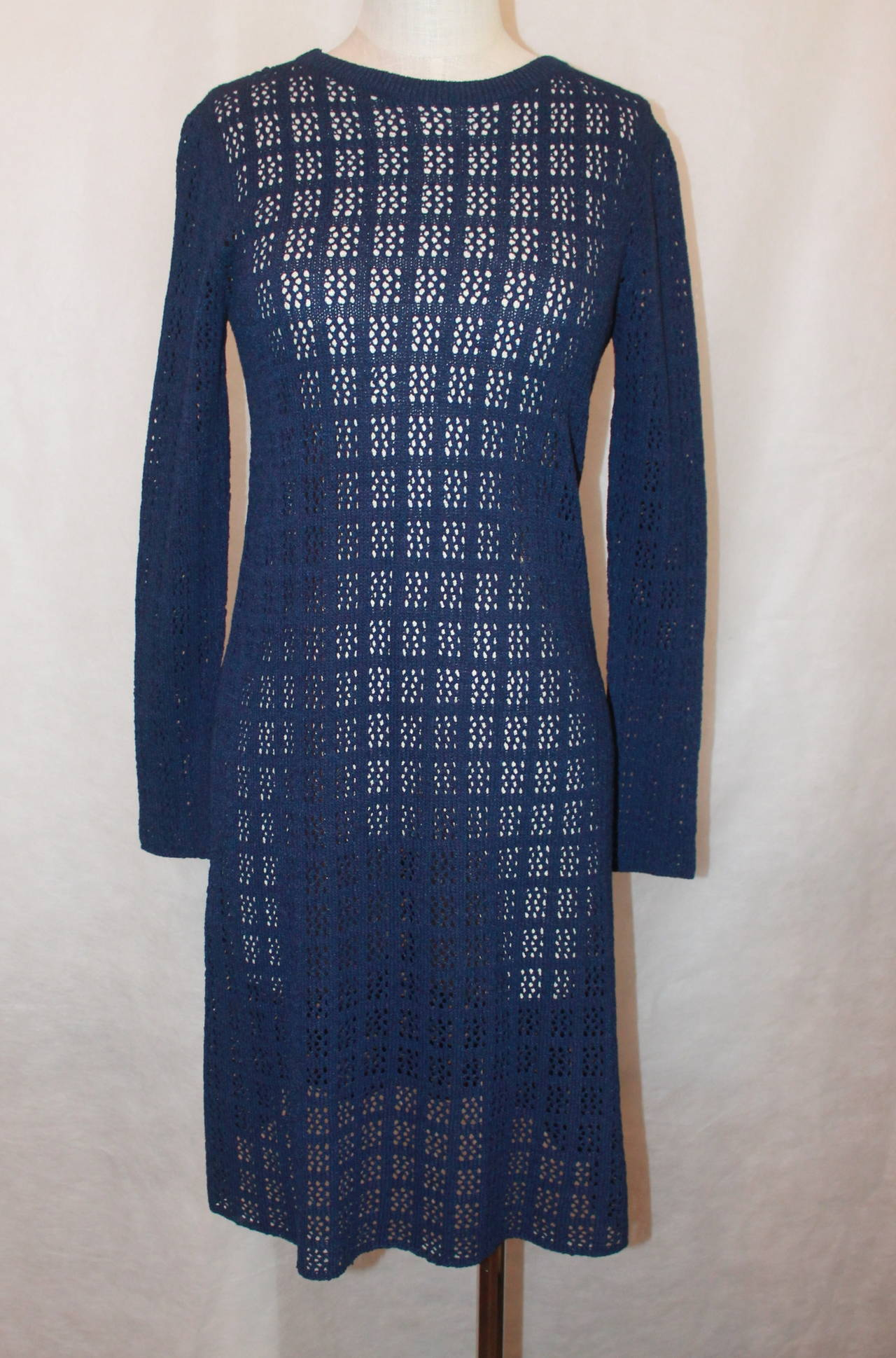 Adolfo 1960's Navy Open Knit Long Sleeve Dress - M 2