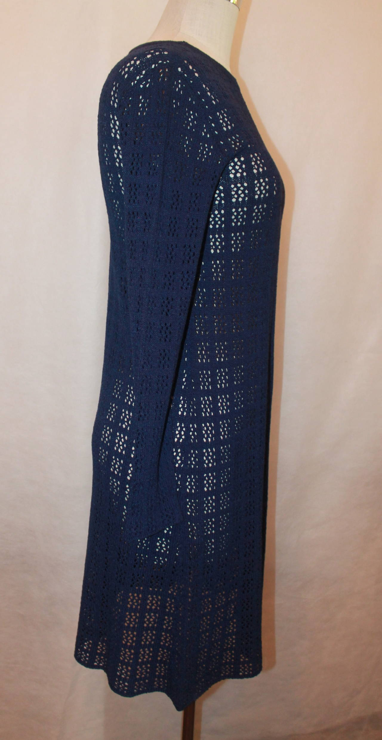 Adolfo 1960's Navy Open Knit Long Sleeve Dress - M 3