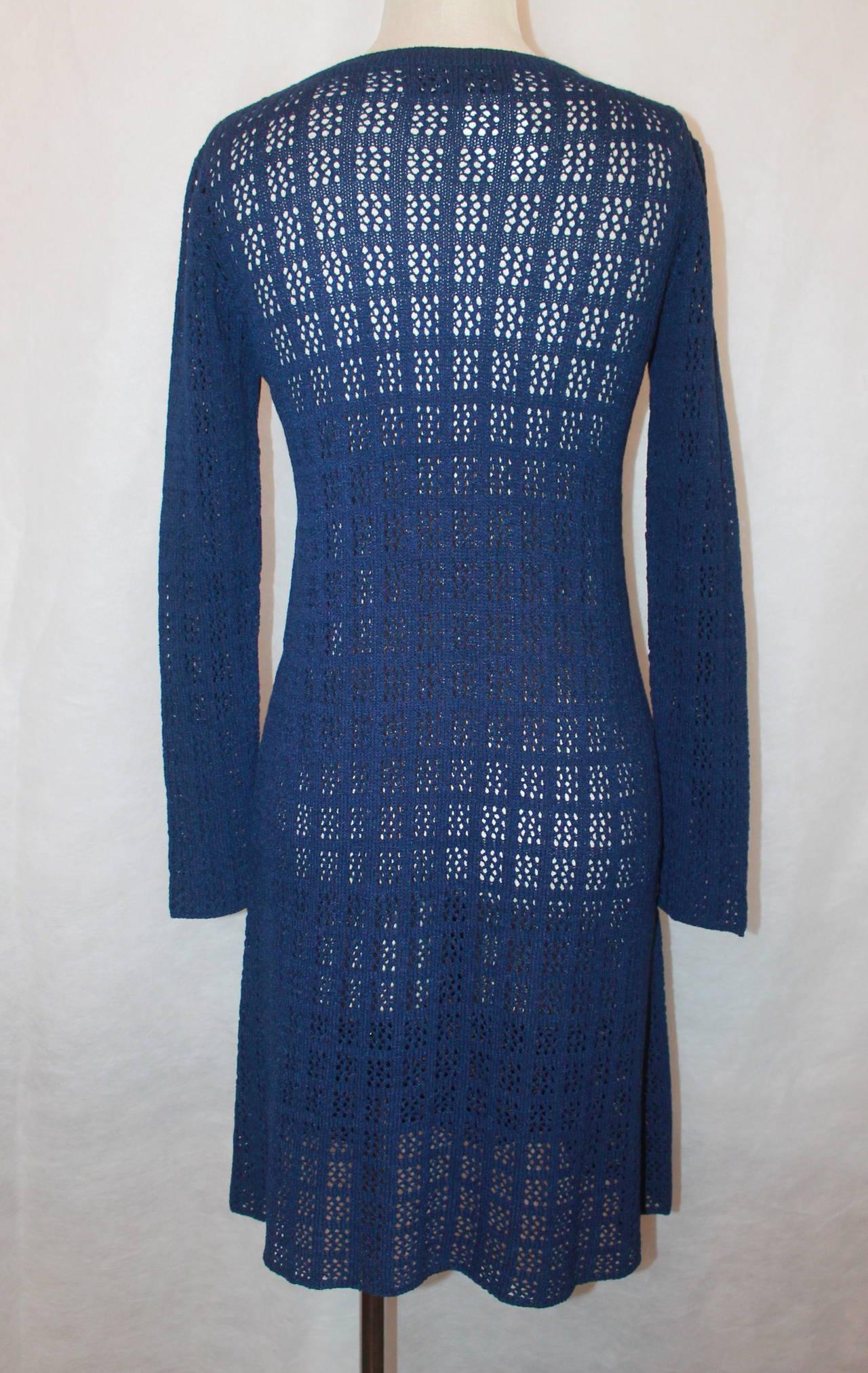 Adolfo 1960's Navy Open Knit Long Sleeve Dress - M 4
