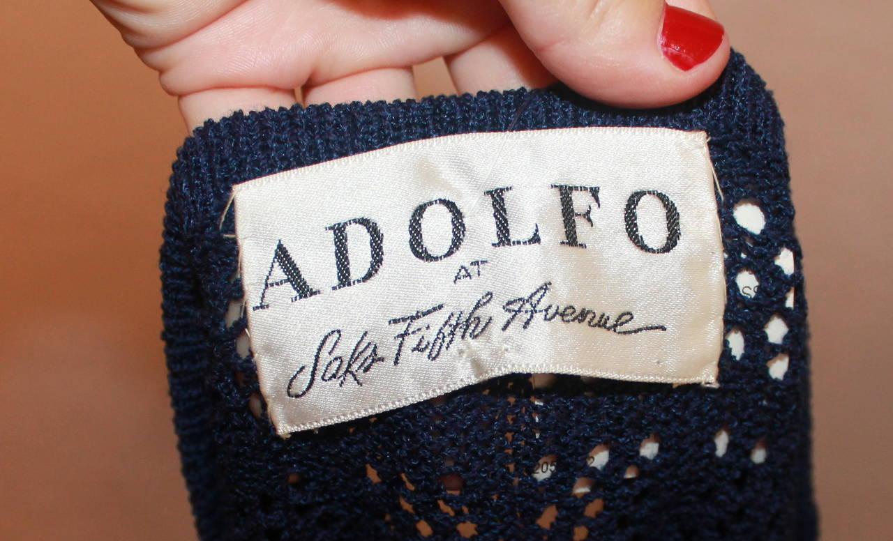 Adolfo 1960's Navy Open Knit Long Sleeve Dress - M 5