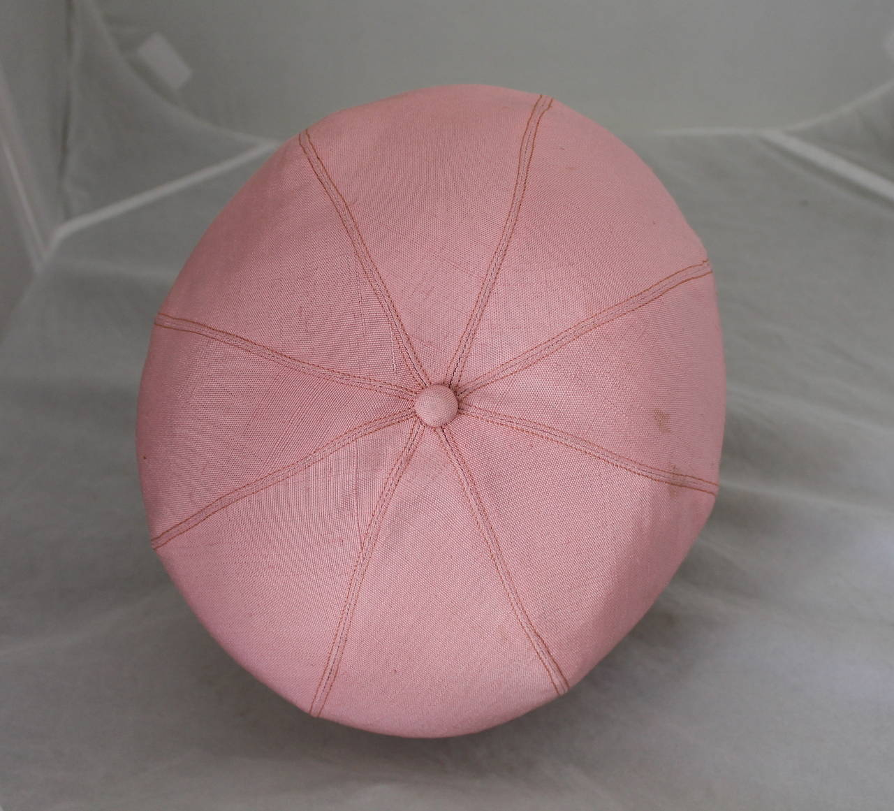 Norman Norell 1960's Vintage Silk Pink Driving Cap 2