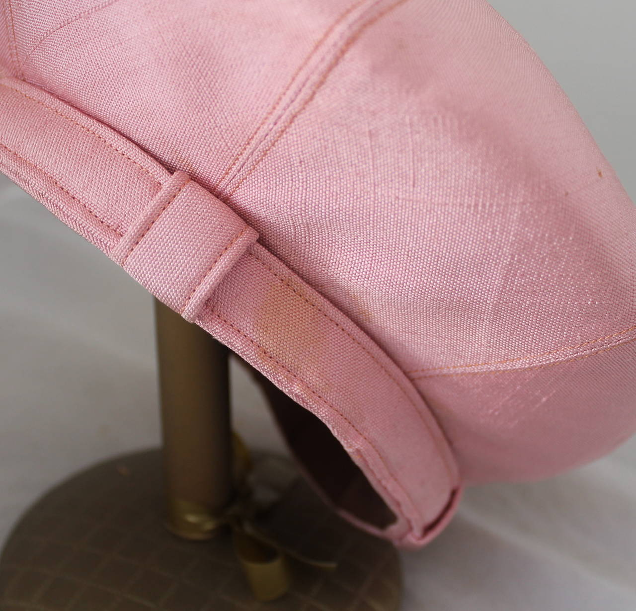 Norman Norell 1960's Vintage Silk Pink Driving Cap 5