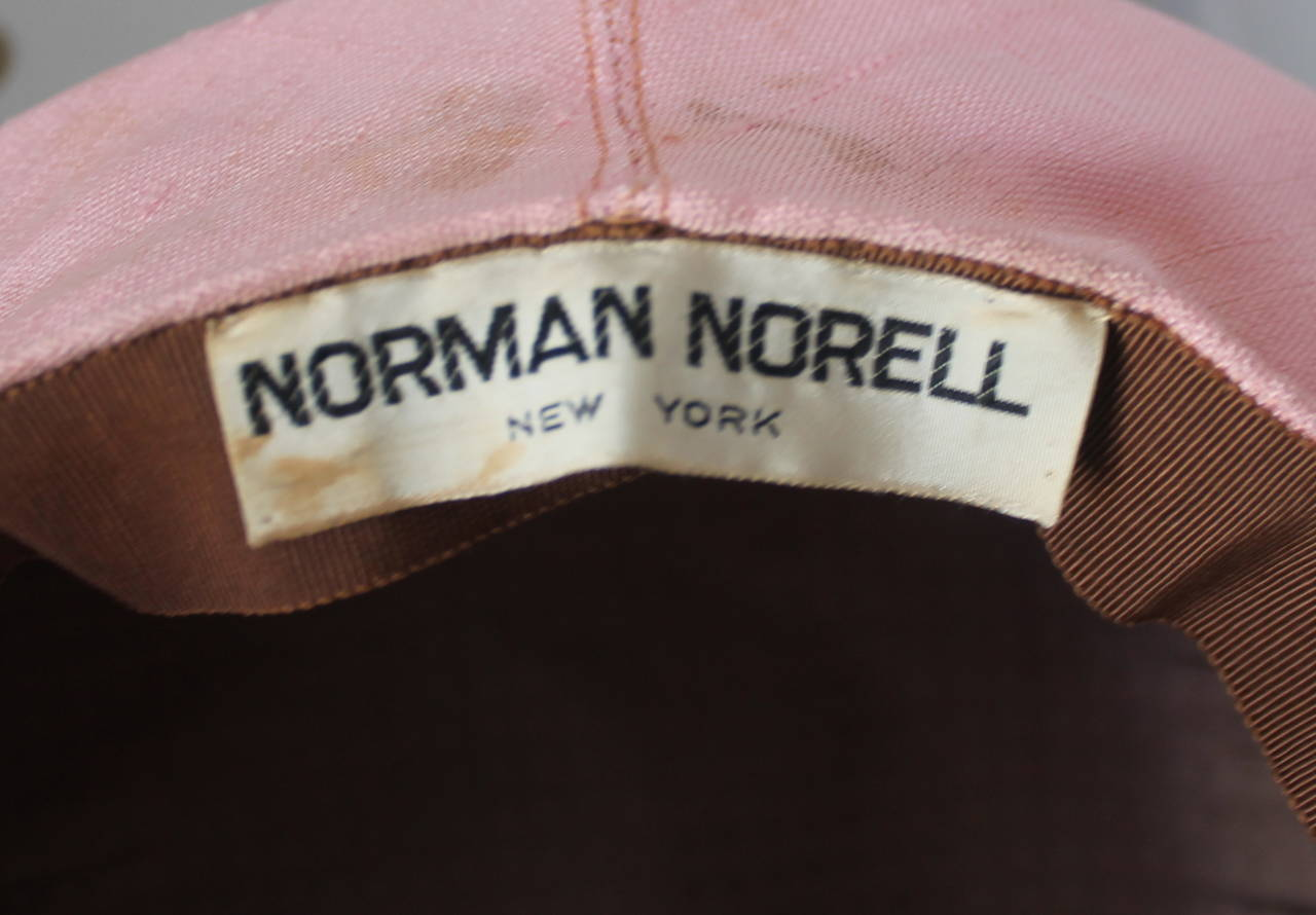 Norman Norell 1960's Vintage Silk Pink Driving Cap 3