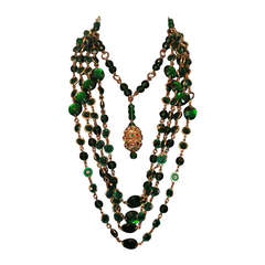 Erickson Beamon Green chicklet and crystal goldtone 5 strand necklace-80's