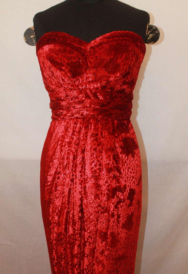 Carolyn Roehm Red Silk Pane Velvet Gown - 4 2